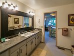 The master bathroom is spacious!