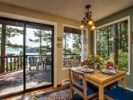 Here is a look at the cozy 4 person dining room table.  Inside or out you are sure to dine with a view.