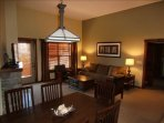 Large Great Room with Vaulted ceilings.