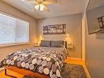 Enjoy a comfortable queen Serta mattress in the bedroom.