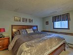 Two guests will sleep well in the king bed in the master bedroom.