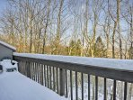 Sip a hot cup of cocoa on the deck while looking out at the Pocono Mountains.