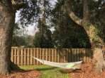 Who's ready for a swing, good book or nap in our backyard hammock?