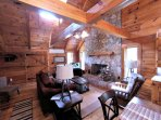 Living Room w/ Flatscreen TV & Stone Frpl