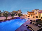 Outdoor living, with custom pool, spa, baja shelf, and LED lights