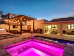 Outdoor living with custom pool, spa and fire pit