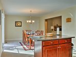 The kitchen and dining area combine for easy entertaining.
