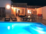 Bay View Villa - Private Pool Terrace at Night