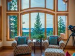 The telescope in the lounge area near the living room gives you an up-close view of your amazing surroundings.
