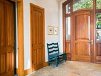 The grand entryway is a welcoming site for any visitors.