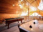 Enjoy the Game Room Loft at Star Struck!  Air Hockey -Flat Screen TV - Pool Table and Multicade Arcade Game will bring...
