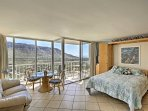 Unveil the magic of Wear Oahu at this vacation rental studio condo with panoramic views of the valley!