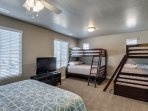 2nd bedroom upstairs with full bath and 2 sets of bunk beds (twi