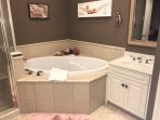 Jacuzzi tub, double vanities, walk in shower and private water closet in master bath