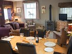 Old Dairy - Open Plan Dining and Living Room with Cosy Log Burner