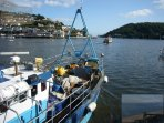 One of the Dartmouth crab fishing boats heading out to sea
