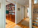 Stairs to 2nd Level, Room on left Library/ Bedroom # 4 with Queen Murphy Bed, TV