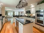 Chef's Kitchen, 5 burner Gas Stove, Dual Ovens, French Door Refrigerator, Dual Refridgerated Drawers in Island