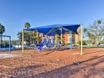 Kids will enjoy the new playground just beyond the community clubhouse.