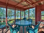 The screened 3-season picnic house is an ideal spot for outdoor dinners!