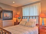 Turn on the master bedroom's gas fireplace and fall asleep next to the roaring flames.