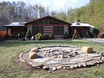 Front Exterior with Firepit at Rustic Ranch