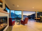 warm home for ski trips with a gas fire & heat pump in lounge, and heat pumps in all bedrooms