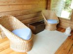 Wicker seating at Frances Louis House