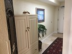 Newly Decorated Large Foyer. Recently installed Travertine Flooring