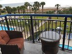 Spacious Balcony off the Living Area Overlooking Picnic Lawn and The Atlantic Ocean