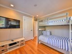 The kids can enjoy Saturday morning cartoons from the sixth bedroom.