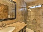 Easily freshen up using the walk-in shower!
