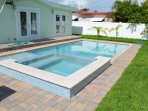 Heated Salt Water Pool with spa in private fenced backyard