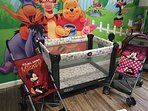 Crib, strollers, and highchair (newly purchased, not shown here)