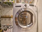 Keep clothes clean throughout your stay with in-unit laundry machines.