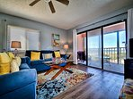 Living room with views of the Gulf of Mexico and beach.