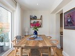 The dining area is light and airy