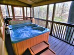 Hot Tub on private screened porch View in Fall