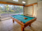 Knock'em down at the new pool table in the garage.