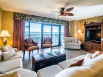 LR w/Balcony Access, Sleeper Sofa and Convertible Sleeper Chair, TV has been upgraded to a Smart TV 65 inch and cabinet...