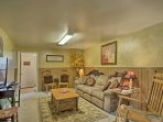 Downstairs, you'll find a lounge area with comfortable furnishings and a flat-screen cable TV.