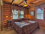 Drift off to dreamland in this rustic king bedroom.