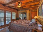 This bedroom offers direct deck access!