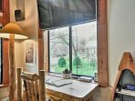 This desk, boasting river views, is an ideal place to read the paper or get some work done.