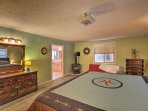 In addition to a king bed, the room has an en-suite bathroom and gas fireplace.