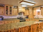 Enjoy a morning cup of coffee at the large kitchen island.