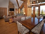 Spacious dining and living area. Dining table seats 8.
