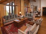 Tall ceilings in the living and dining area
