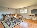 Kick back and relax in this comfy living area featuring a flat-screen cable TV.