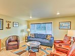 The living room provides ample seating for everyone in the group.